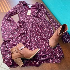 American Rag Long Sleeve Boho Floral Purple Dress